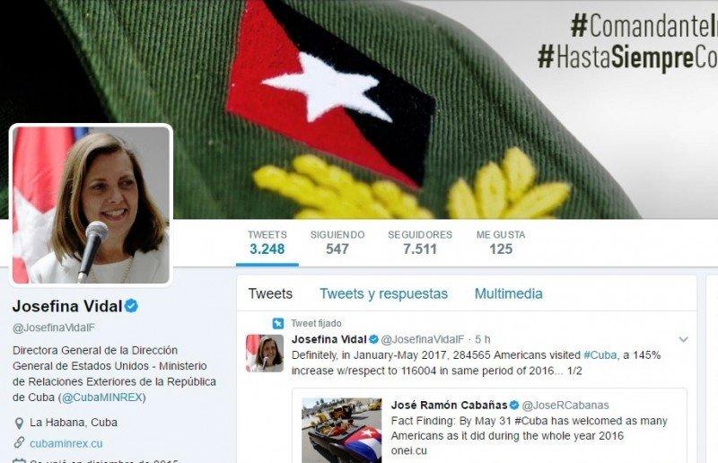 Cuenta de twitter de la directora para Estados Unidos del Ministerio de Relaciones Exteriores de Cuba, Josefina Vidal.