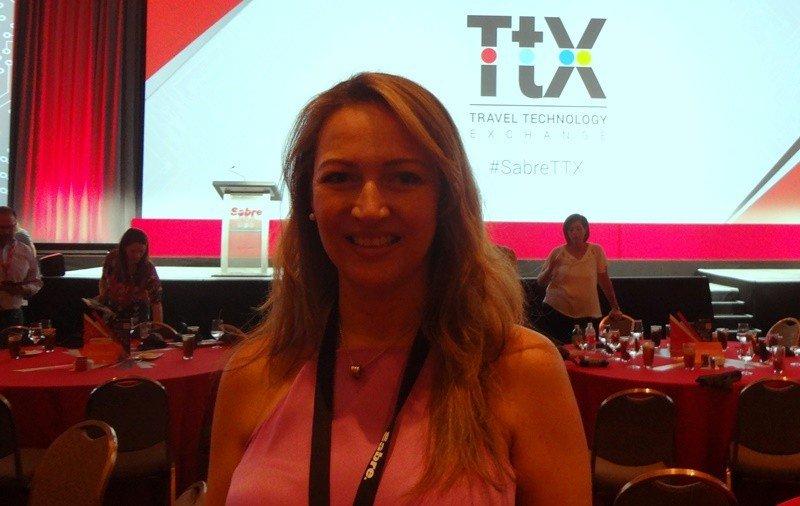 Paula Cortés, presidenta de ANATO y Folatur en la convención TTX 2017 de Sabre en Las Vegas. Foto. J. Lyonnet.