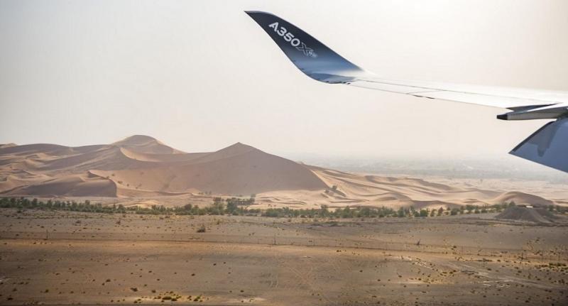 Airbus utiliza el Aeropuerto Internacional de Al Ain en Emiratos Árabes Unidos como su base para las pruebas de clima caliente extremo.