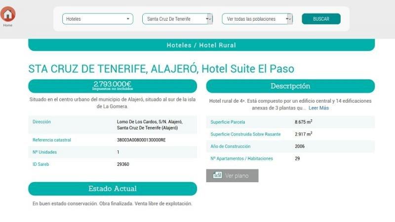 Este es uno de los hoteles que ha puesto a la venta la Sareb