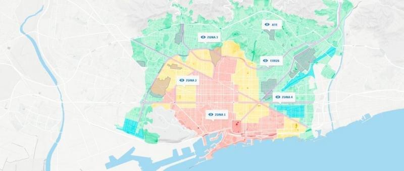 Mapa que muestra la división de Barcelona por zonas hoteleras establecida por el PEUAT.