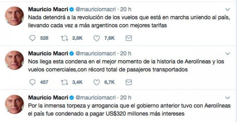 Tweets del presidente Mauricio Macri.