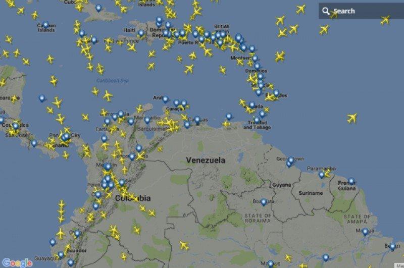 Escaso movimiento en el espacio aéreo venezolano este lunes. Imagen: Flightdadar
