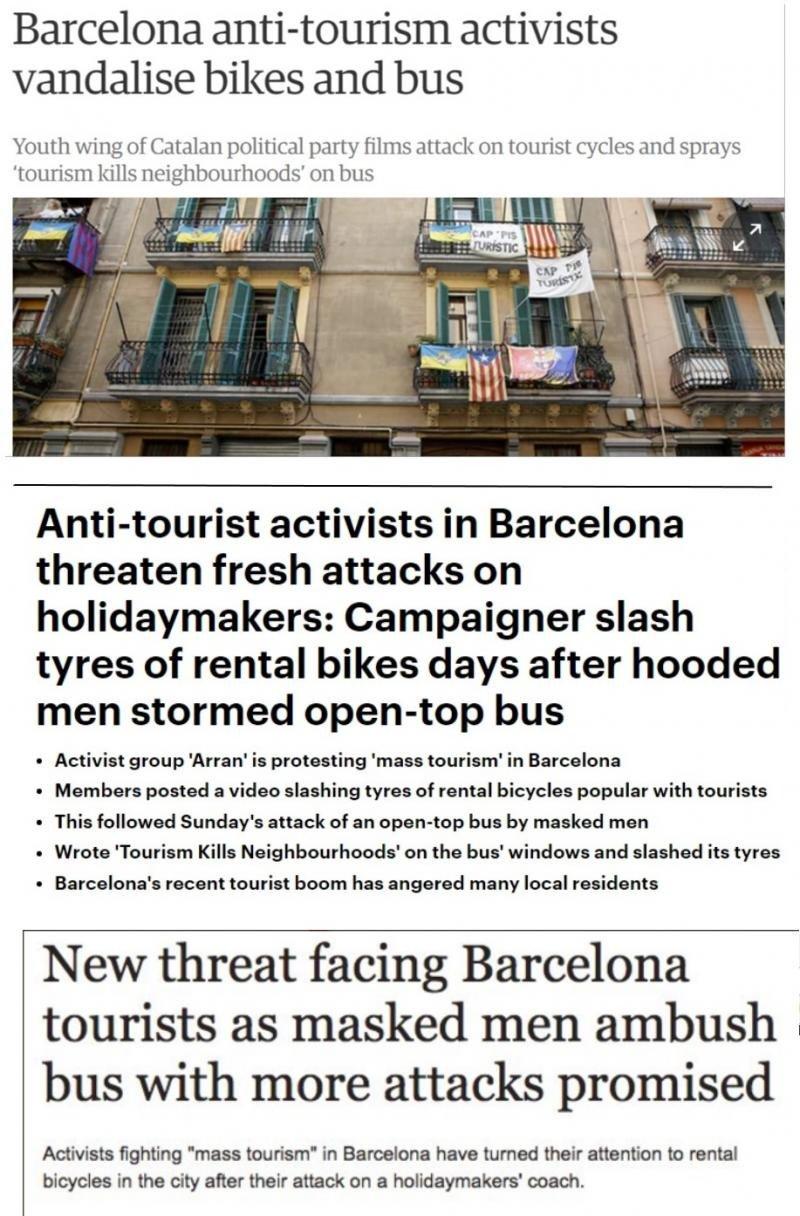 Titulares en la prensa del Reino Unido sobre los ataques al turismo en Barcelona