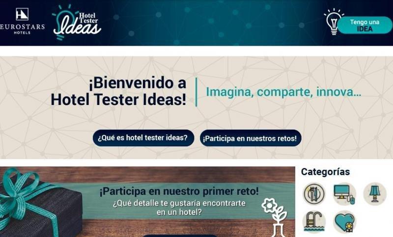 Imagen de la web del programa Hotel Tester Ideas, de Eurostars Hotels.