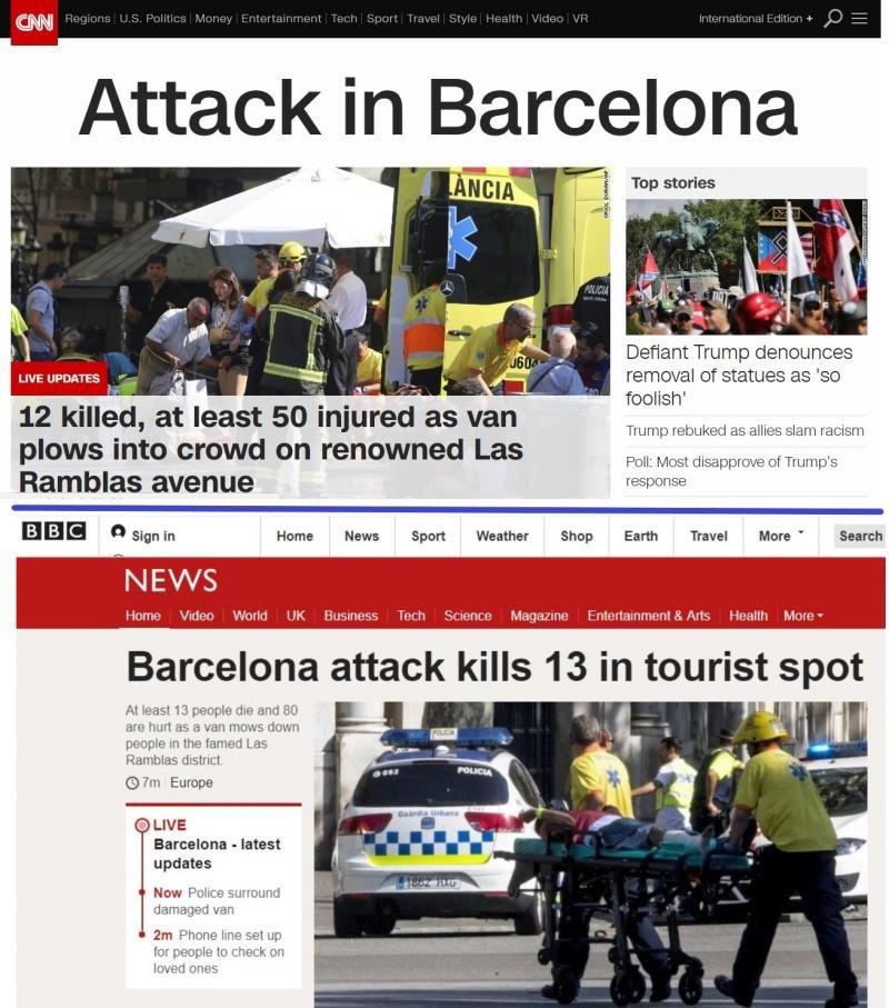 Informaciones del atentado de Barcelona en medios internacionales.