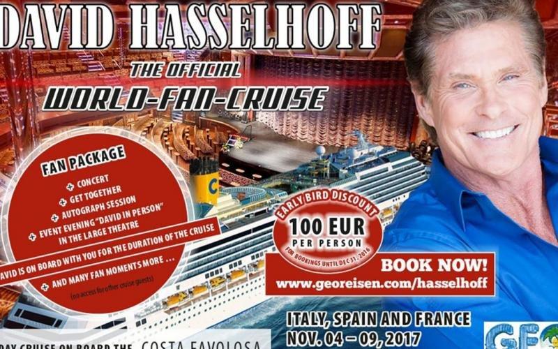 Imagen de la promoción del crucero de Hasselhoff, al que no le falta detalle.