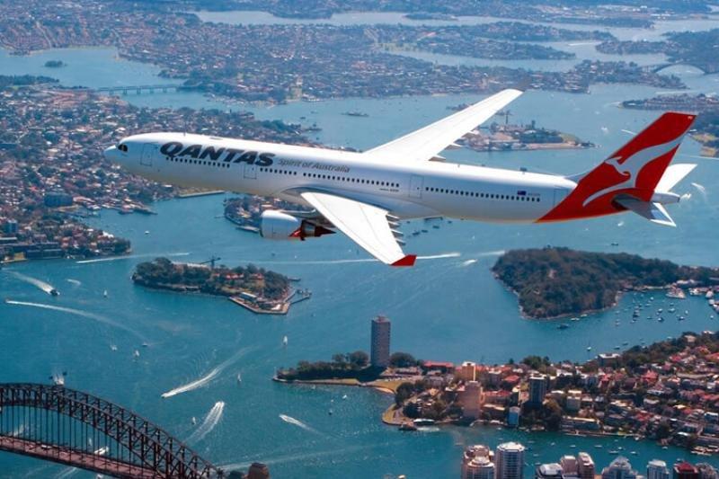 Un avión de la aerolínea australiana  Qantas
