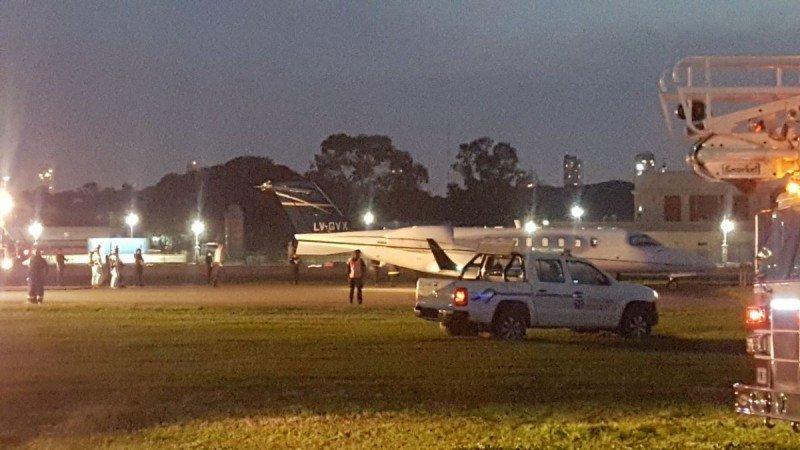 El avión perdió pista luego de aterrizar en Aeroparque. Foto: @TorreAeroparque.