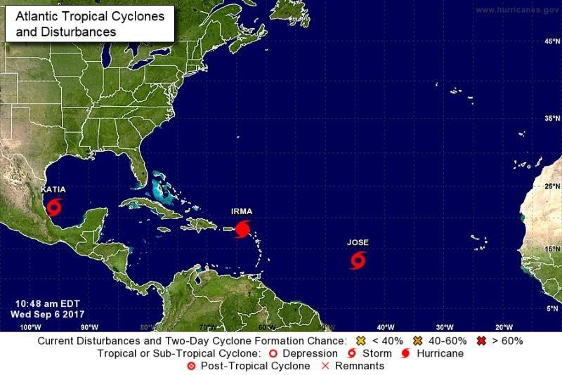 Infografía del NHC que muestra la situación, a 6 de septiembre, del huracán Irma y de las tormentas tropicales Jose y Katia.