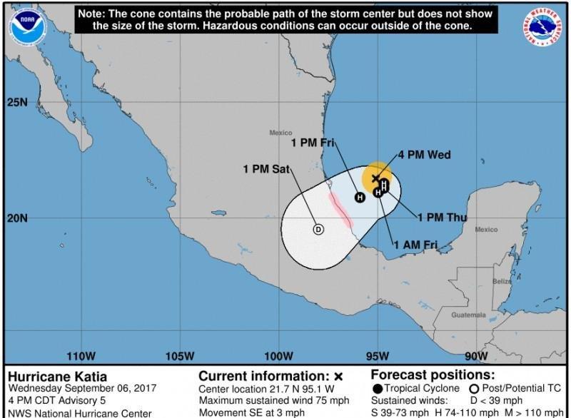 Probable paso del huracán Katia hasta el sábado en las condiciones actuales.
