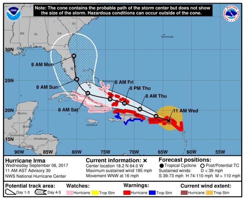 Trayectoria del huracán Irma, que sigue arrasando las islas del Caribe.