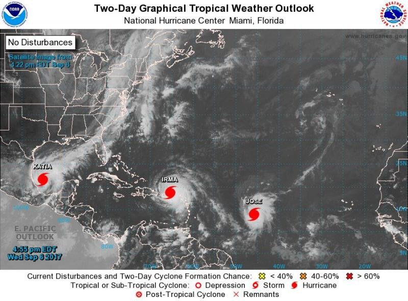 Las tormentas Katia y José se suman a Irma como huracanes en el Atlántico