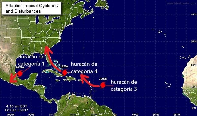 ¿Es normal que haya tres huracanes simultáneos?