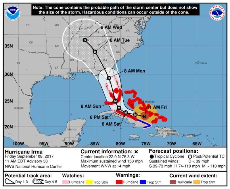 Infografía del NHC que muestra el previsible recorrido del huracán Irma