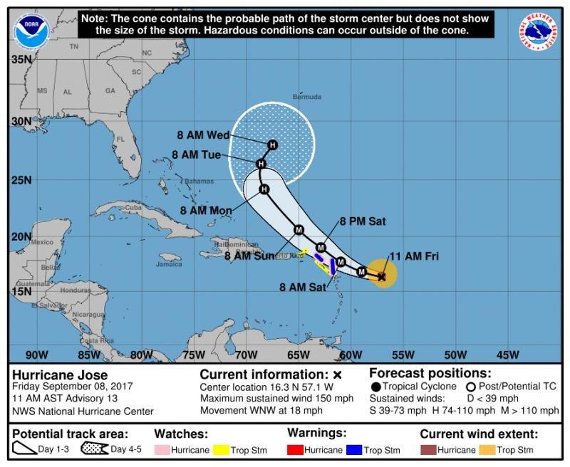 Infografía del NHC que muestra la trayectoria prevista del huracán Jose