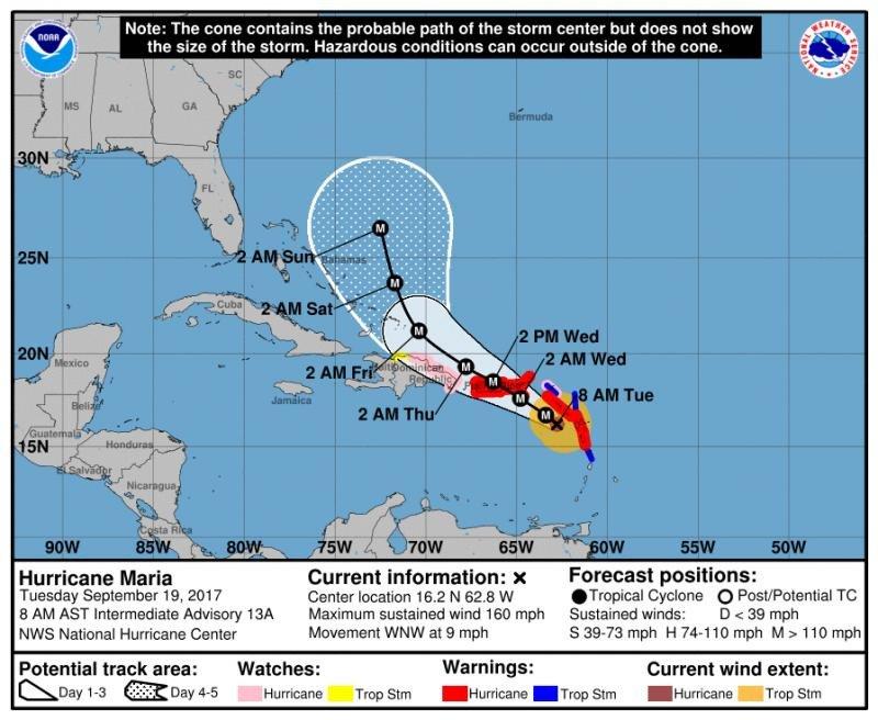 Puerto Rico sentirá los efectos directos del huracán María a partir del miércoles, mientras que del jueves al viernes el ciclón se moverá por el norte de la República Dominicana.