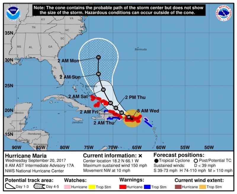 A las 2 AM de este jueves (hora local en República Dominicana, las ocho de la mañana en España), el ojo del huracán María estará situado en el extremo noreste de la República Dominicana y se irá moviendo hacia el norte, sin llegar a tocar tierra. Infografía: National Hurricane Center