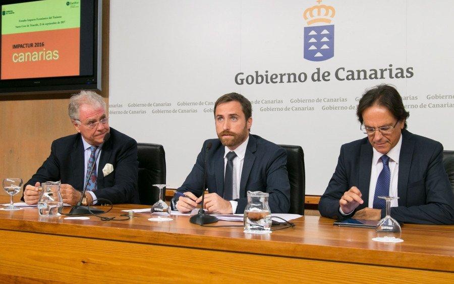 El consejero de Turismo canario, Isaac Castellano, que participó ayer en la presentación del estudio junto al vicepresidente de Exceltur, José Luis Zoreda.