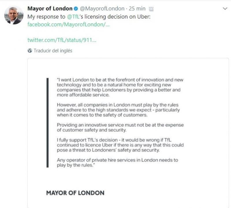 Lo que ha explicado en Twitter el alcalde de Londres sobre la cuestión.