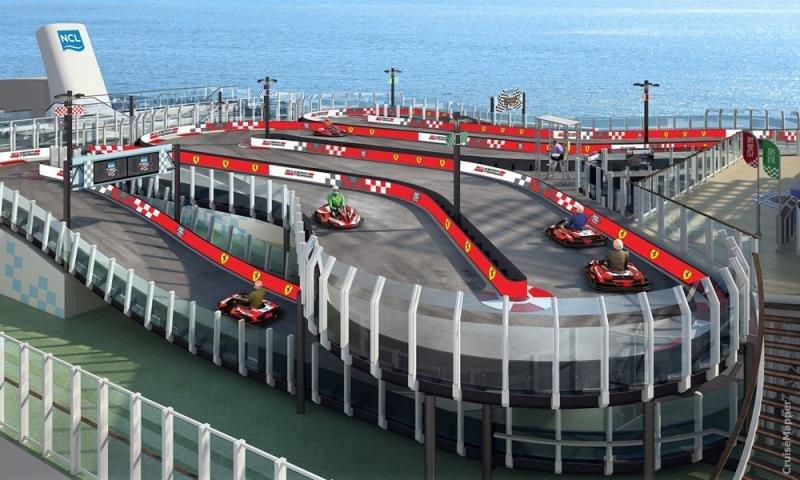 En el Norwegian Bliss también se está construyendo una pista de karts de 300 metros, donde los vehículos alcanzan los 50 km/h.