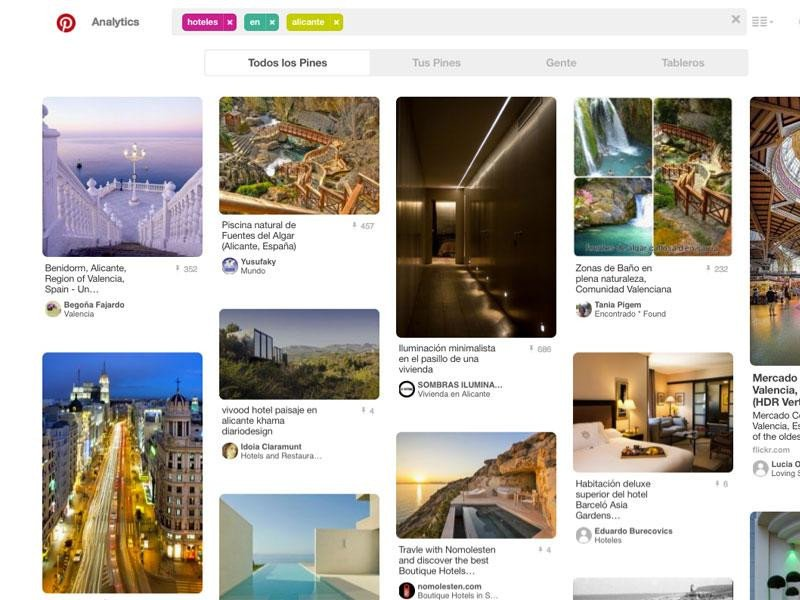Resultado de la búsqueda 'Hoteles en Alicante' en la red social Pinterest