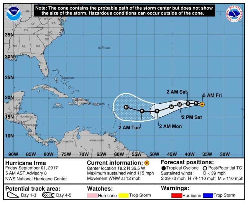 Infografía: National Hurricane Center. El cono muestra el recorrido probable del centro del huracán pero no indica su tamaño, por lo que fuera de ese cono también pueden producirse situaciones de riesgo.