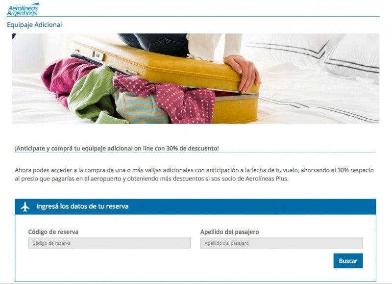 Aerolíneas Argentinas lanza servicio de venta online de equipaje adicional