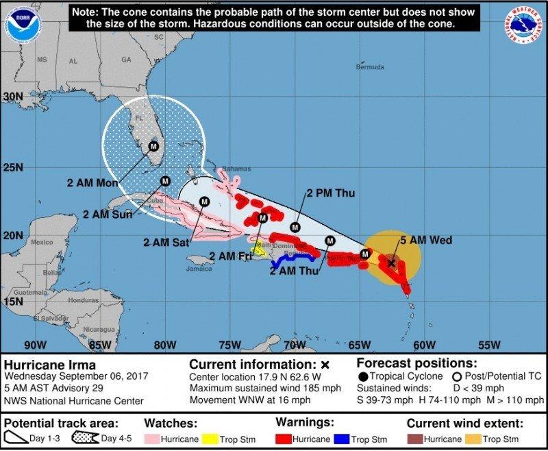 Posición del huracán y trayectoria prevista en la mañana de este miércoles. Fuente: NHC.