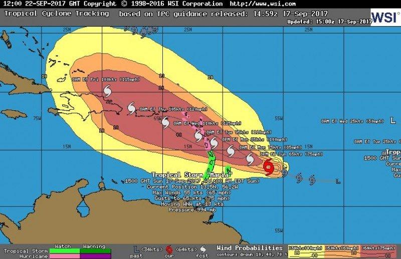 Pronóstico de recorrido e intensidad de María para los próximos días: sigue el paso de Irma hasta Puerto Rico.