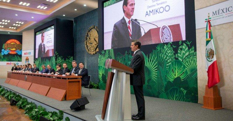 La presentación del parque temático fue encabezada por el presidente de México, Enrique Peña Nieto.
