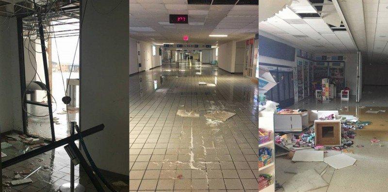 Imágenes de algunos de los daños sufridos por el Aeropuerto de San Juan en el área de pasajeros.