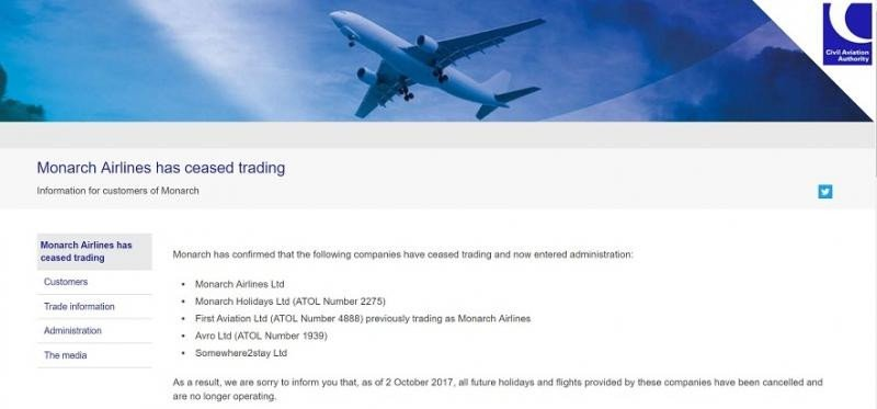 La web de la Autoridad de Aviación Civil informa del cese de operaciones.