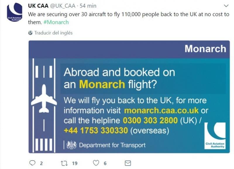 La Autoridad de Aviación Civil necesitara 30 aviones para hacer que los 110.000 pasajeros regresen al Reino Unido.