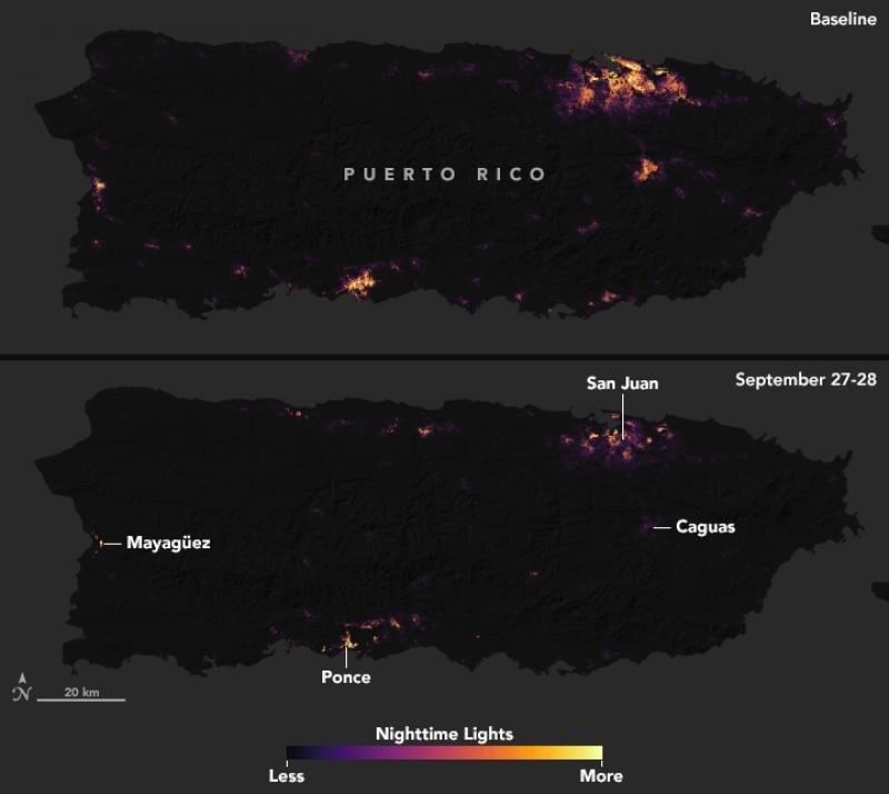 Puerto Rico de noche desde el espacio, antes y después del huracán María. Imagen: NASA
