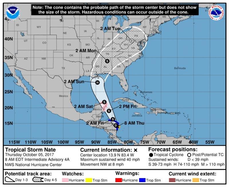 La infografía del National Hurricane Center muestra el recorrido que seguirá la tormenta tropical Nate, que este viernes podría convertirse en huracán.