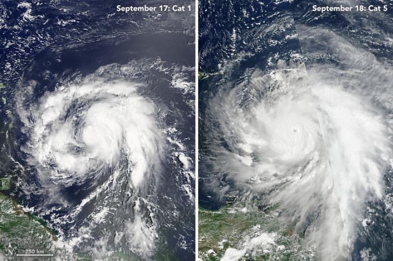 La comparación de imágenes permite observar cómo el huracán María se fortaleció rápidamente, pasando de categoría 1 a categoría 5 en tan solo 18 horas. Imagen. NASA