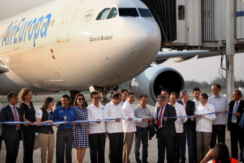 Apertura de la ruta Madrid-San pedro Sula, hace seis meses. Foto: La Prensa Honduras.
