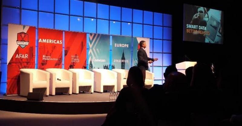 Hari Nair, vicepresidente de Expedia Media Solutions, en su presentación en la World Travel Market.