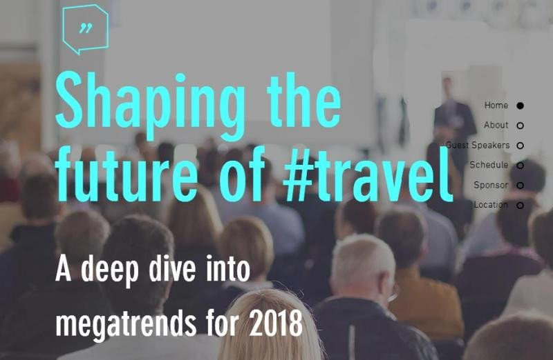 Cartel de la jornada 'Shaping the future of #travel' organizada por JSF Travel and Tourism School.