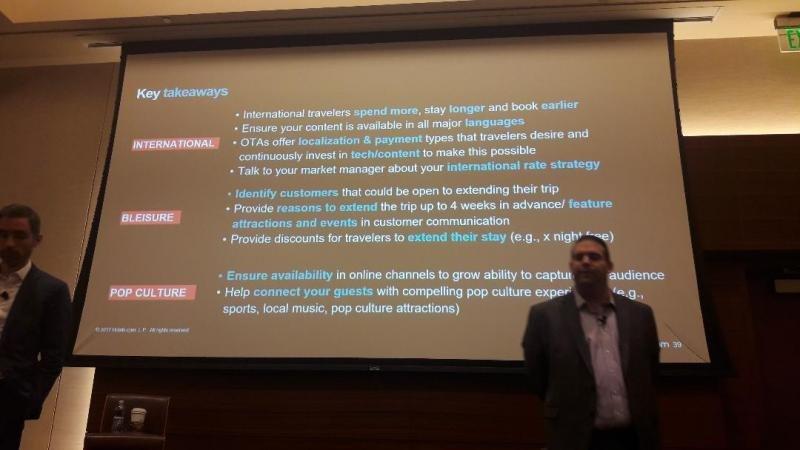 Paulo Cunha (izq.) y Josh Belkin, ante la presentación de sus recomendaciones a los hoteles para aprovechar estas tendencias al alza en el mercado.