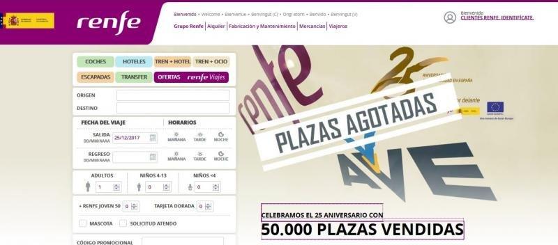 Renfe vendió 270.000 billetes en la campaña #25AniverasarioAve