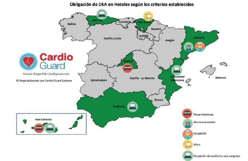 Mapa que recoge la obligatoriedad de instalar desfibriladores externos automáticos (DEA) según la legislación vigente en cada CCAA.