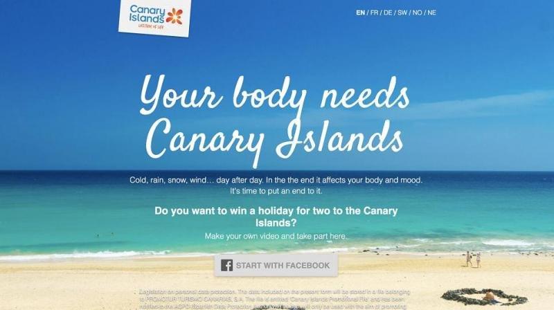 Imagen de la campaña de promoción de Canarias en Facebook.
