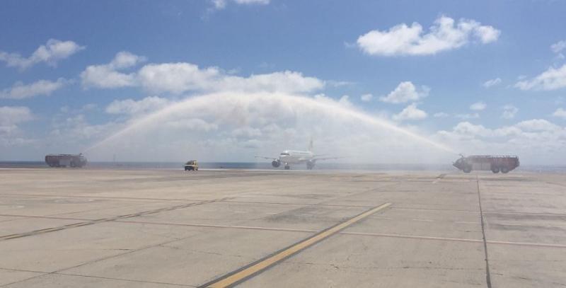 Inaguración del vuelo operado por Germania entre Fuerteventura y Touluse, en mayo.