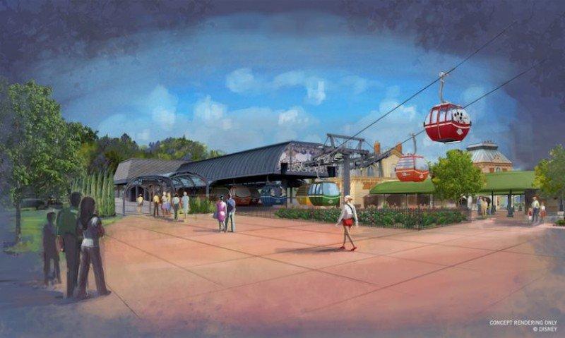 Render de una de las estaciones del sistema Disney Skylift.