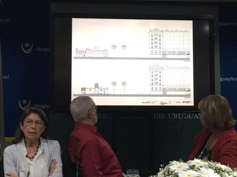 Renée Pereira de Méndez Requena, Benjamín Liberoff y Liliam Kechichian en la presentación del proyecto.