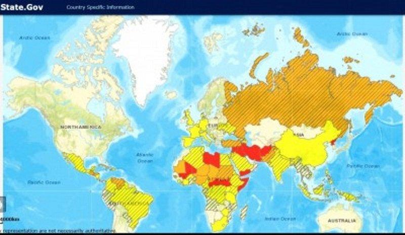 Calificación actual de seguridad de los países del mundo según EEUU. Fuente: Travel State Dept.
