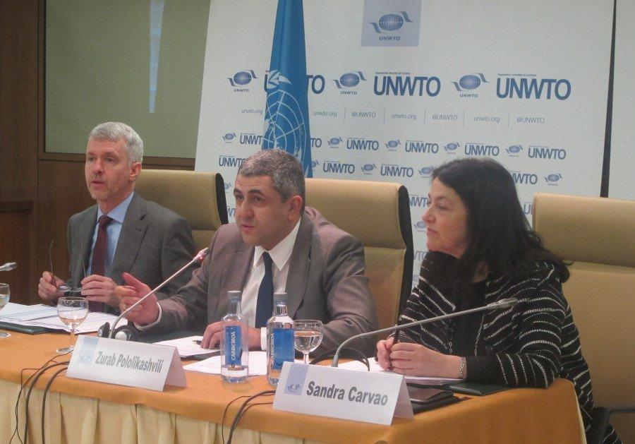 El nuevo secretario general de la OMT, Zurab Pololikashvili, ofreció ayer su primera rueda de prensa.