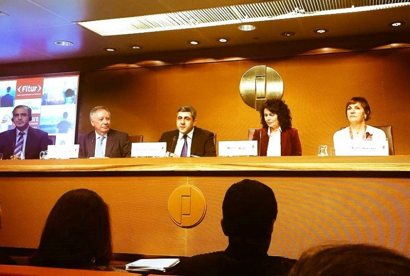 Autoridades en la presentación a la prensa de la feria 2018. Foto: @fitur_madrid